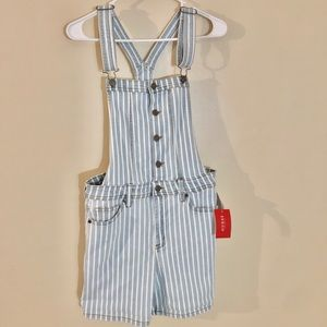 Women's Guess Light Blue Stripe Overall Shorts NWT